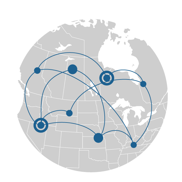 north america connected blue lines and circles