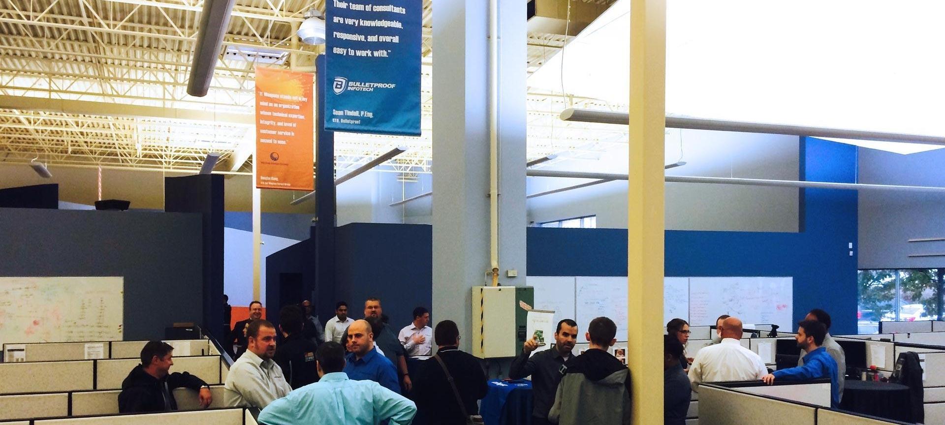employee crowd at Goreway building grand opening